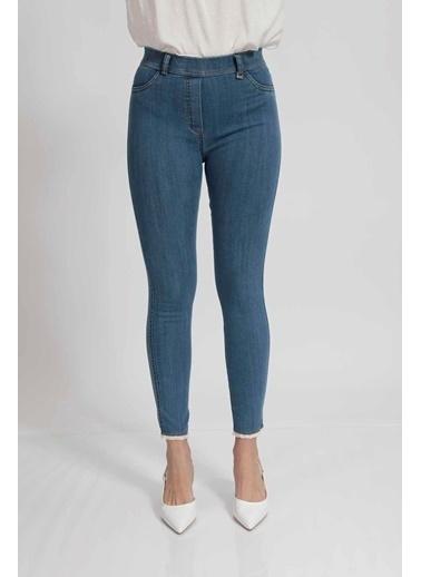 Vitrin Mavi Skiny Paçada Dantel Detaylı Pantolon İndigo